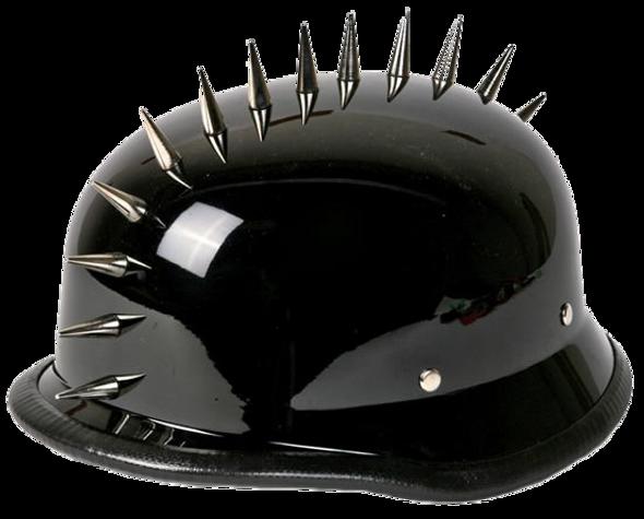 Spiked German Novelty Motorcycle Helmet in Gloss Black - SKU GRL-H402-02-DL