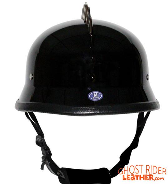 Novelty Motorcycle Helmet - Spiked - Gloss Black - German - H402-02-DL