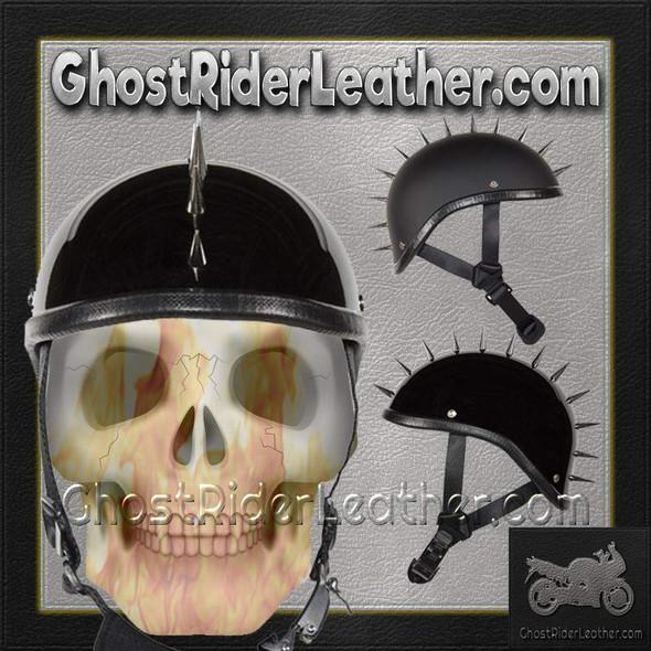 Spiked Gladiator Novelty Motorcycle Helmet in Gloss or Flat Black - SKU GRL-H403-H503-02-DL
