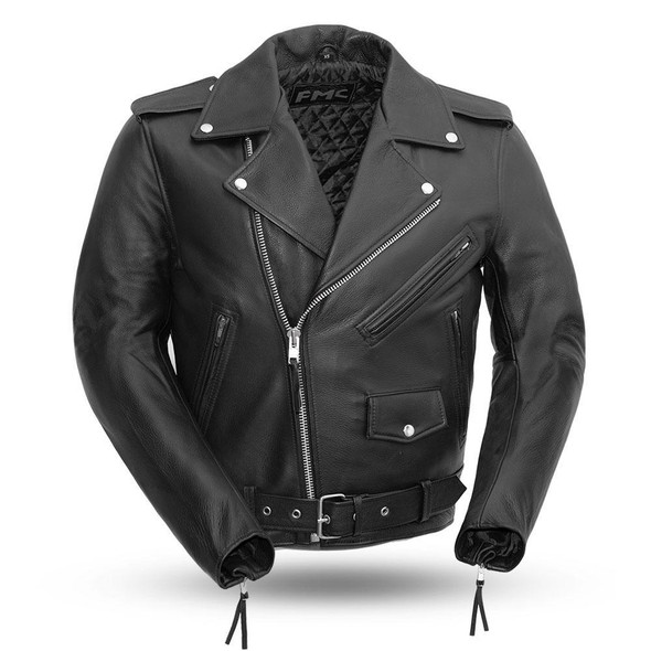 Superstar - Men's Leather Motorcycle Jacket - Up To Size 8XL - SKU FMM200BMP-FM