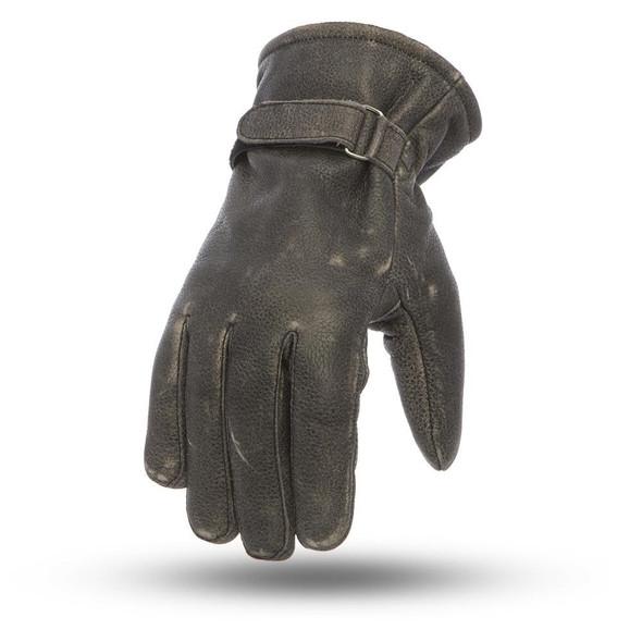 Teton - Motorcycle Gloves - Distressed Leather Gloves - SKU FI205-FM