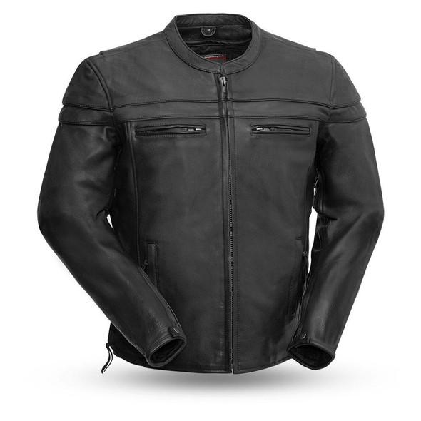 Men's Tall Leather Motorcycle Jacket - Big and Tall - Men's Biker Jacket - The Maverick - FIM262NTCZ-FM