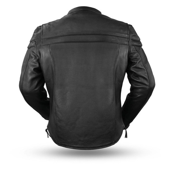 Leather Motorcycle Jacket - Men's - Big and Tall - Biker Jacket - Maverick - FIM262NTCZ-FM