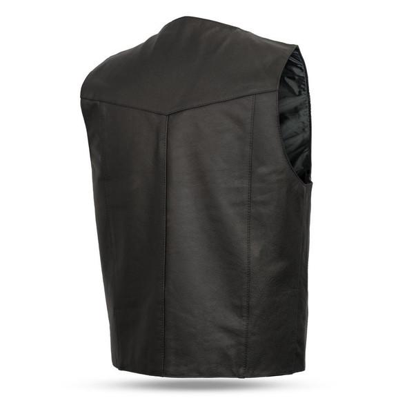 Leather Motorcycle Vest - Men's - Up To Size 8XL - Western - FMM601BM-FM