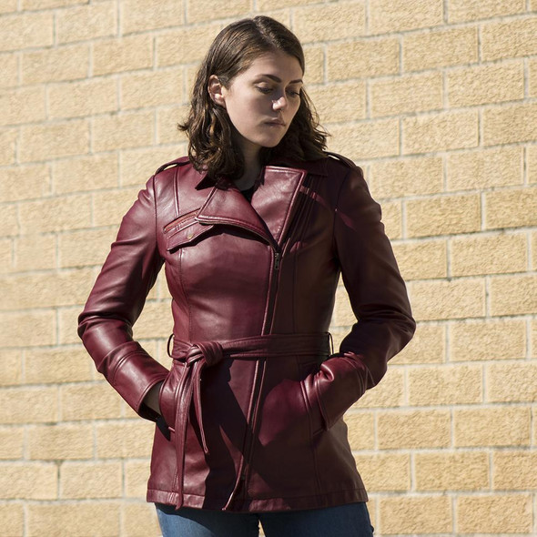 Traci - Women's Leather Trench Coat Jacket - Choice Of Colors - WBL1087-FM