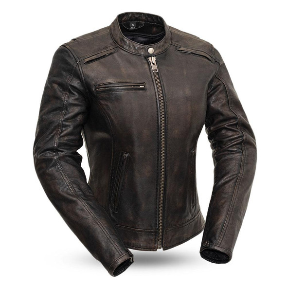 Trickster - Women's Distressed Leather Motorcycle Racing Jacket - FIL164SDC-FM