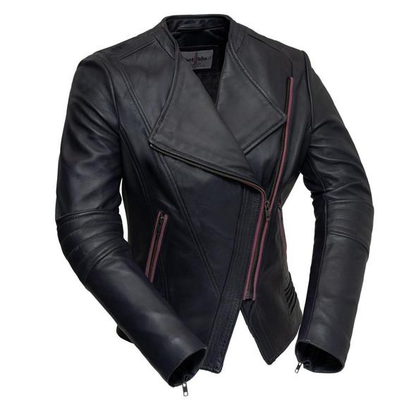 Trish - Women's Leather Motorcycle Jacket - Violet Or Black - WBL1395-FM