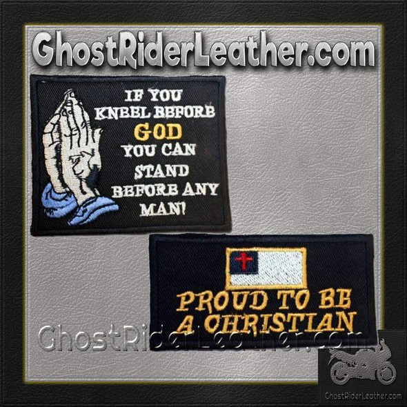 Two Christian Patches With Proud To Be Christian / SKU GRL-PAT-D601-D607-DL