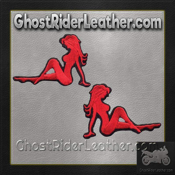 Two Sexy Mudflap Girl Patches in Red - Vest Patches - PAT-D525-D526-DL