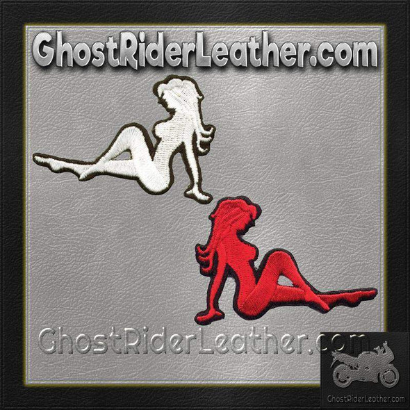 Two Sexy Mudflap Girl Patches in Red and White - Vest Patches - PAT-D525-D524-DL