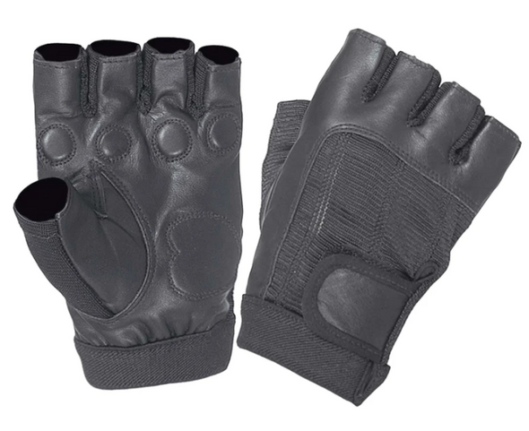 Ladies Fingerless Leather Gloves With Gel Palm - SKU 8232-00-UN