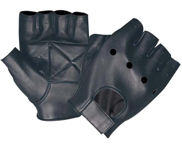 Men's Fingerless Leather Gloves With Gel Palm - SKU 1450-00-UN