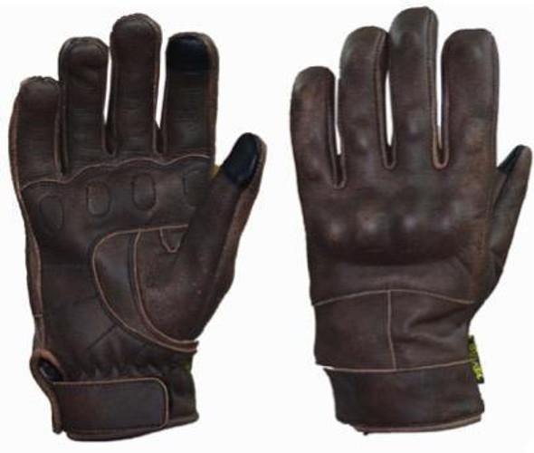 Full Finger Brown Reinforced Leather Gloves - SKU 8167-BR-UN