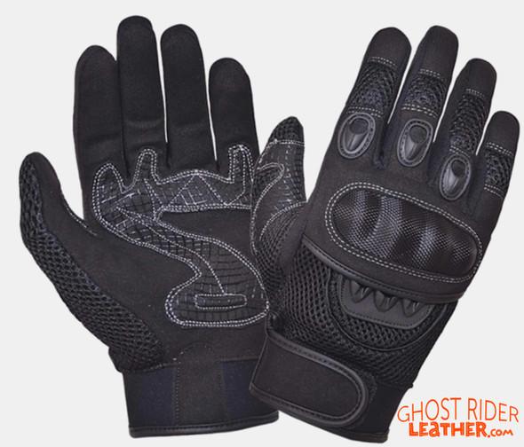 Leather Gloves - Men's - Full Finger - Knuckle Armor - 8324-00-UN