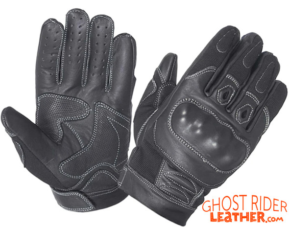 Leather Gloves - Men's - Full Finger - Knuckle Armor - Motorcycle - 8245-00-UN