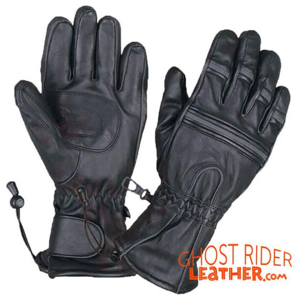 Leather Gloves - Men's - Gauntlet - Reflective - Motorcycle - 8201-00-UN