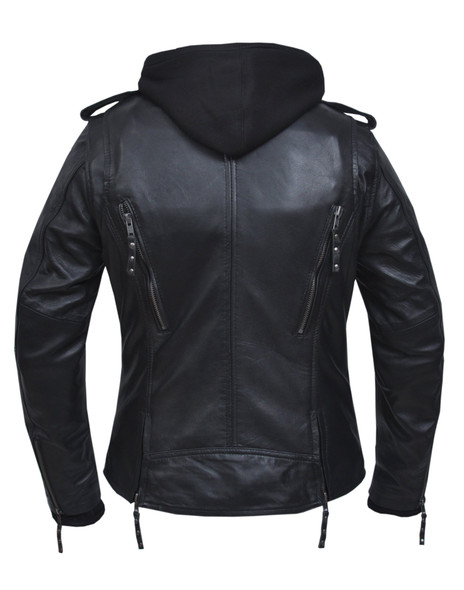 UNIK Ladies 3-in-1 Premium Lambskin Leather Jacket With Removable Hoodie - 6841-00-UN