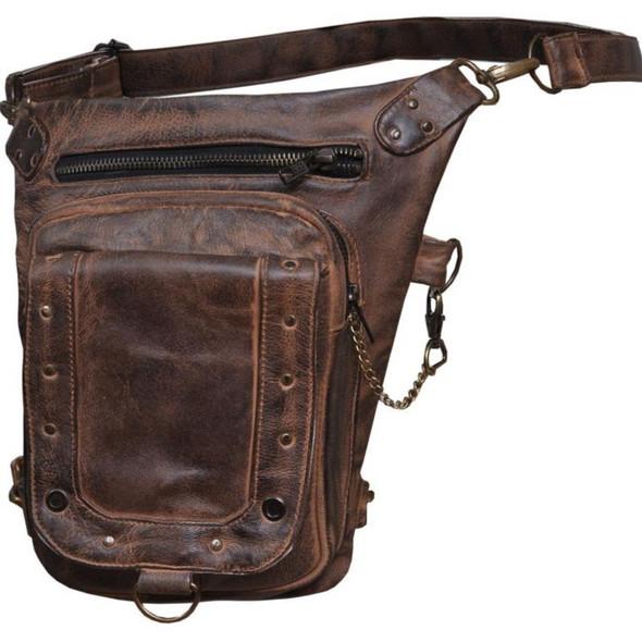 Women's Brown Leather Thigh Bags - SKU 5735-TAN-UN