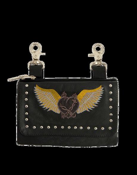 Women's Clip On Leather Bag - Belt Bags - Gray Wings - SKU 2157-18-UN