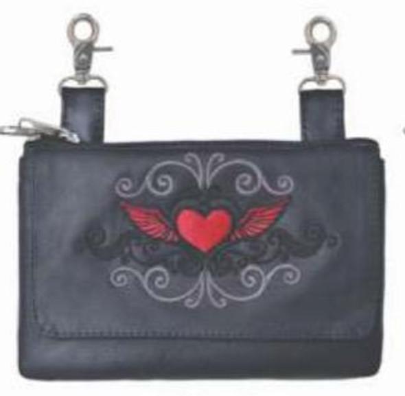 Women's Clip On Leather Bag - Belt Bag - Red Heart - SKU 9737-01-UN