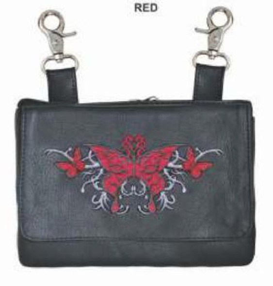 Clip On Leather Bag - Belt Bag - Red Butterfly - 9700-01-UN
