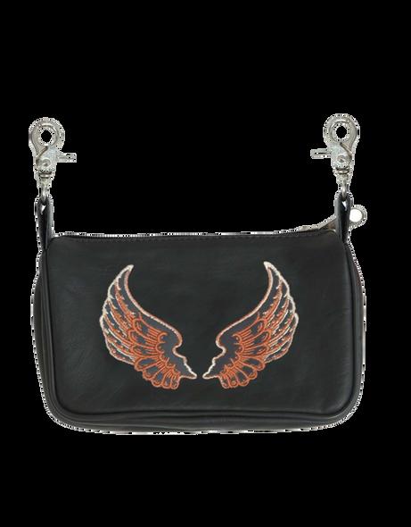 Women's Leather Clip On Bag - Belt Bags - Purse - Brown Wings - SKU 2159-06-UN
