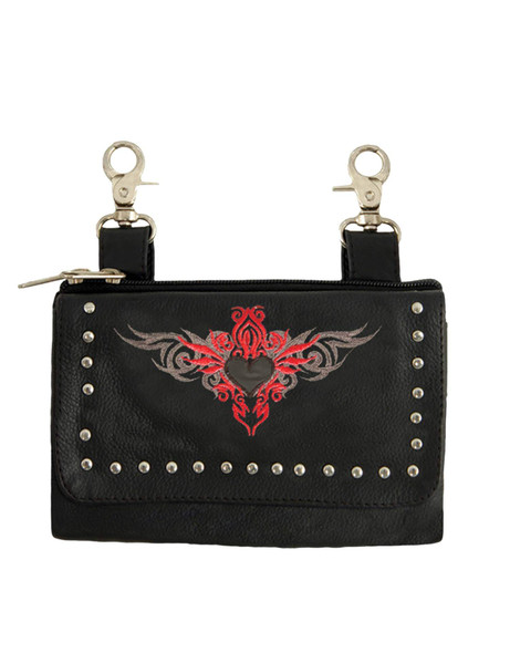 Clip on Bag - Embroidery - Tribal Heart Design - Red - 2156-01-UN