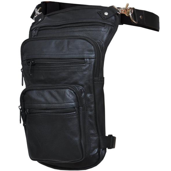 Women's Black Leather Thigh Bag - SKU 5730-00-UN