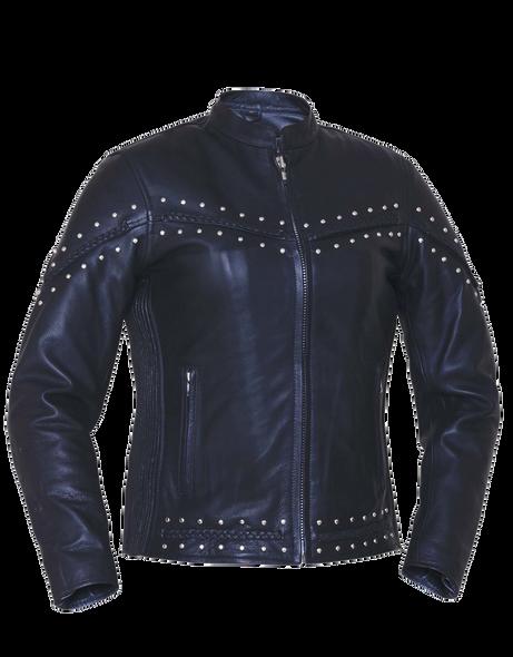 UNIK Ladies Premium Leather Jacket With Studs and Braid Design - SKU 6810-00-UN