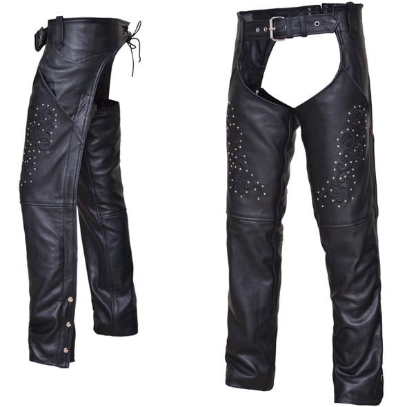 UNIK Ladies Premium Leather Motorcycle Chaps - SKU GRL-7177-RF-UN