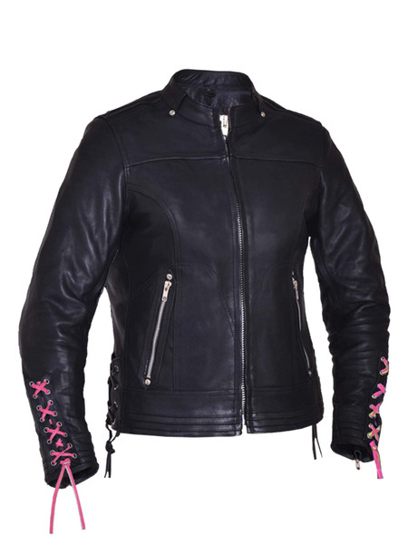 UNIK Ladies Premium Leather Motorcycle Jacket With Hot Pink Embroidered Rose - 6801-24-UN