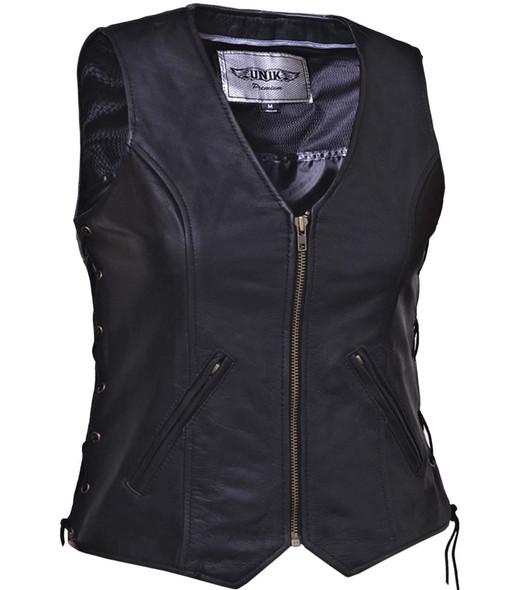 Leather Motorcycle Vest - Women's - Zipper Front - 399-00-UN