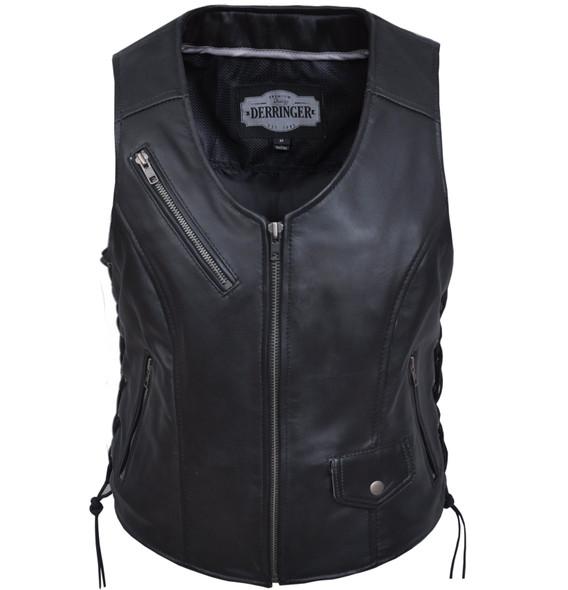 Leather Motorcycle Vest - Women's - Zipper Pockets - 6892-00-UN