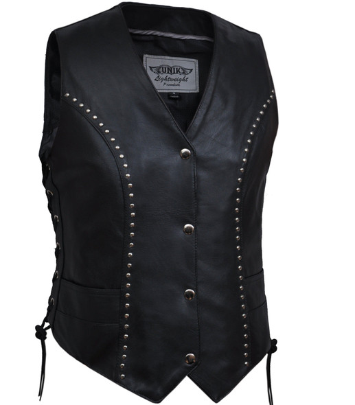 Leather Vest - Women's - Studded - Side Laces - Motorcycle - 2666-00-UN