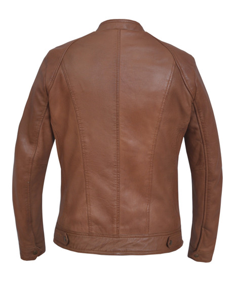 UNIK Ladies Tan Leather Racer Style Motorcycle Jacket - 6849-TAN-UN
