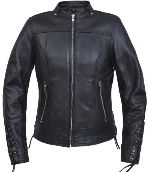 UNIK Ladies Ultra Leather Racer Style Motorcycle Jacket - 6801-PL-UN