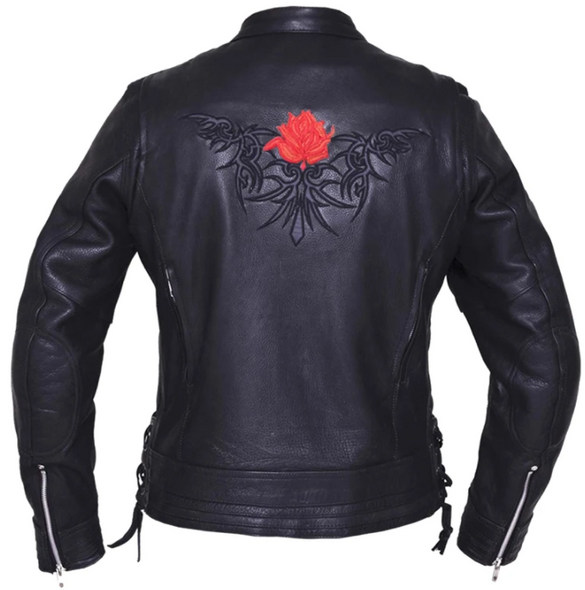 UNIK Ladies Premium Leather Motorcycle Jacket With Red Embroidered Rose - 6801-01-UN