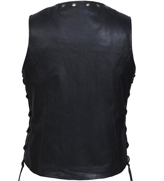 Leather Vest - Women's - Zippered - Lightweight - Eyelets Design -2682-NG-UN
