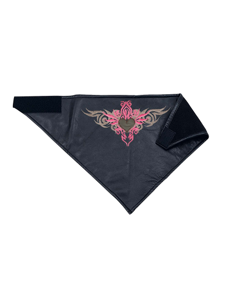 Leather Face Mask With Pink Tribal Heart Embroidery -  Bandana - 1397-24-UN