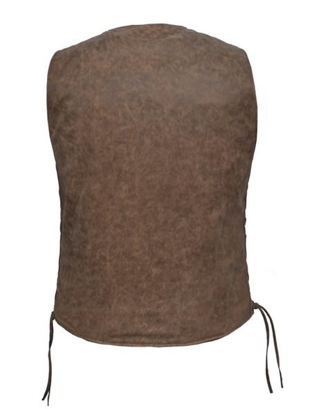 UNIK Men's Arizona Brown Leather Vest - SKU GRL-2611-ANT-UN