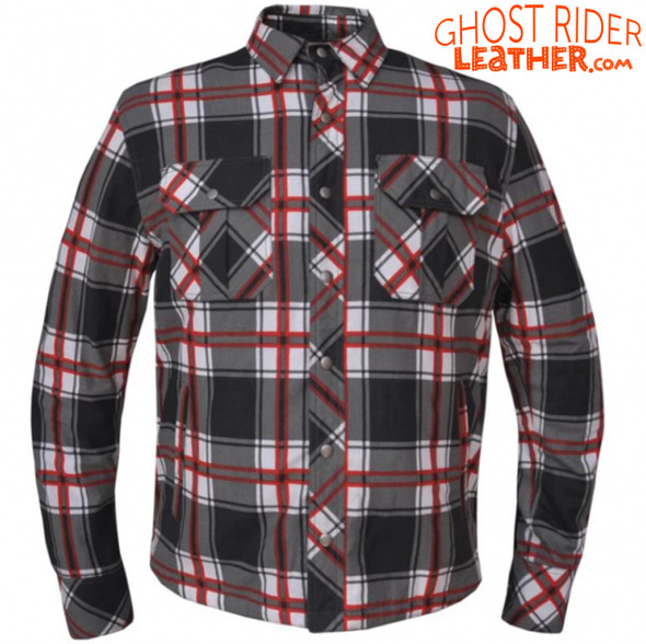 Flannel Motorcycle Shirt - Men's - Up To Size 8XL - Red White Black Plaid - TW136-01-UN