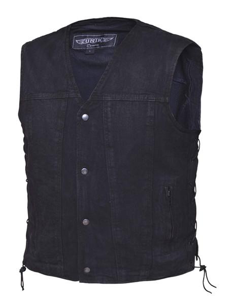 Men's Black Denim Vest With Side Laces - SKU DM2611-BK-UN