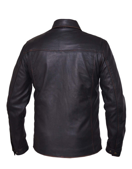 Men's Leather Shirt Jacket - Rub Off Brown - 867-RUB-UN.