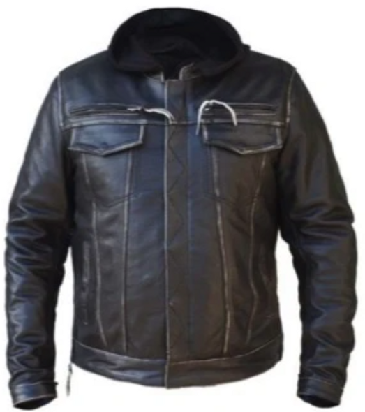 UNIK Men's Durango Grey Premium Leather Jacket With Hoodie - SKU 6905-AGR-UN
