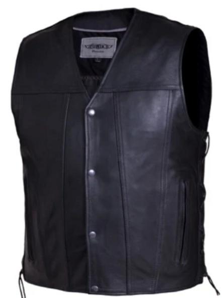 UNIK Men's Premium Leather Motorcycle Vest - SKU 2611-00-UN