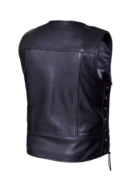 UNIK Men's Premium Ultra Leather Motorcycle Vest With Side Laces - SKU 6036-00-UN
