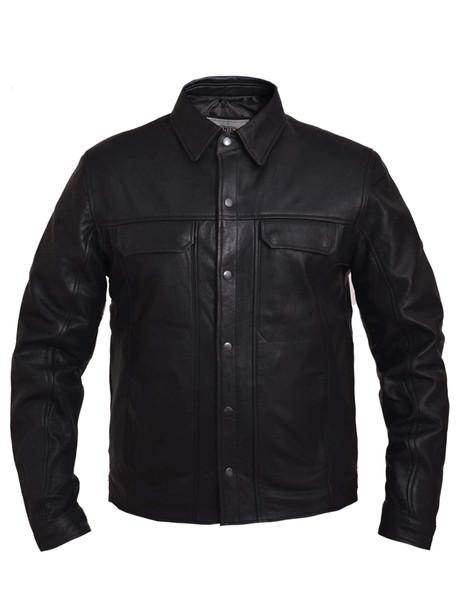 Men's Premium Black Leather Shirt - Lightweight - 867-NG-UN