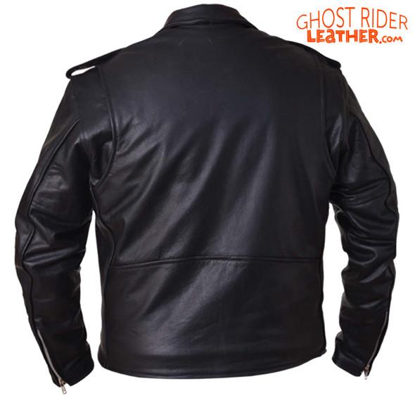 Leather Motorcycle Jacket - Men's - Classic - Side Laces - 12-00-UN