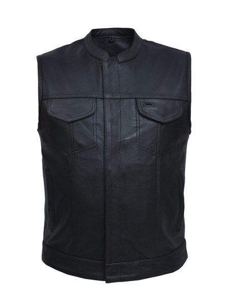 Men's SOA Style Leather Motorcycle Club Vest - Up To Size 8XL - SKU 6655-NK-UN
