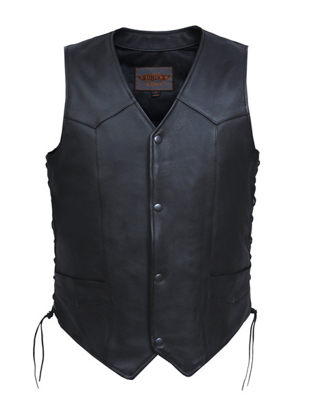 Men's Leather Motorcycle Vest - Big Sizes 4X 5X 6X 7X 8X - SKU 331-TL-UN